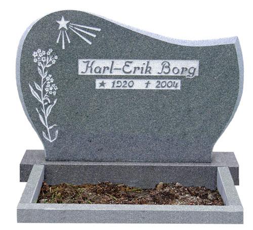 Gravsten - Mörkgrå granit